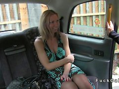 Tied up amateur banged in fake taxi in public