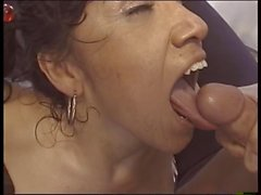 Dude eats and finger-fucks flexible young brunette's wide-open pussy then fucks