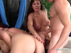 Hot guy nailing cougar pussies in group sex