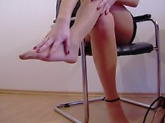 My new secretary is horny, destroys pantyhose and plays with herself
