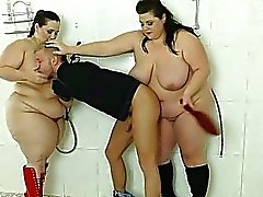 A voyeur boy humiliated and cruelly punished by 2 BBWs