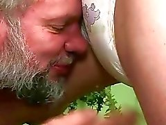Grandpa and teen in extreme pissing sex action