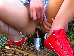 Glass of beer in teenagers analhole
