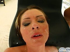 Gabriella prepares herself for the cocks with a big dildo in her mouth. She sucks off four guys blindfolded and then gets her face covered in cum