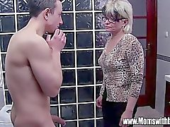 Grey Haired Stepmom Fucks Her Bathroom Jerking Ste