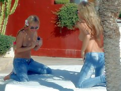 Russian Teen babes in blue jeans regina and ulyana