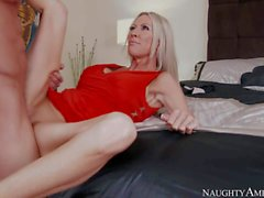MILF in red Emma Starr with stiff dick in her pink pussy