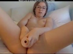 Lovely Teen With Glasses Suck And Fuck Dildo