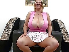 Pale chubby blonde with large melons sucks hard rod in pov