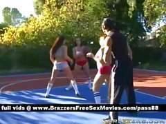 Three amateur chicks outside playing basketball