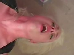 Bleached-blonde beauty fucked by 2 black cocks