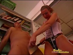 Dominatrix Threatens Male Slave With A Kitchen shank