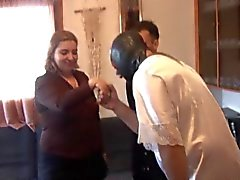 Chubby Spanish woman gangbanged