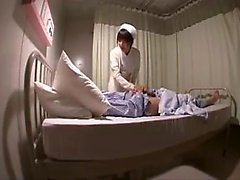 Buxom Oriental nurse in pantyhose satisfies her hunger for