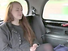 Long haired brunette blowjob in cab