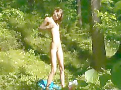 undressing pussy in the forest