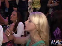 Raunchy babes get naughty at a party