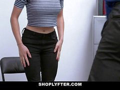 ShopLyfter Natural Teen Blows Security Guard