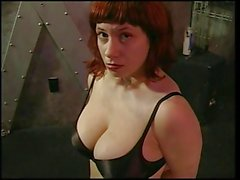 Big tits redhead gets her boobs felt by her master