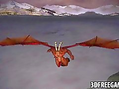 3D redhead gets fucked hard by a winged demon