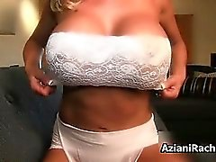 Busty blonde babe gets horny stripping part6