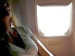 Airplane girlfriend masturbation