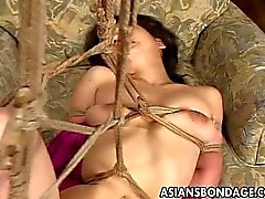 Fetching Japanese sweety moans during raunchy