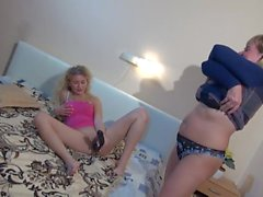 OldNanny teen with toy is enjoying with matur