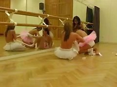 Skinny teen cuties forego ballet for some much needed dildo practice
