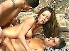 Busty Babe Jizzed On In A Threesome