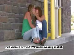 Sara and Rilee stunning amateur lesbian teens kissing in public