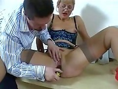 office secretary with toys