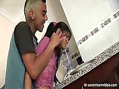 Latina couple in the kitchen