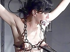 Breaking Elise Graves in hard dungeon tit tortures
