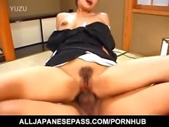 Japanese AV Model gets cum from sucked boner after strong bonking