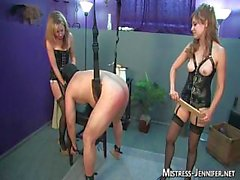 Two Dominatrixes trample and fuck male slave