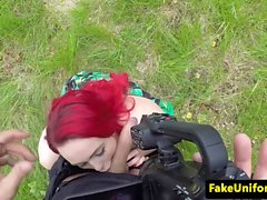 Redhead euro titfucking fake coppers cock