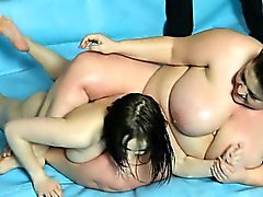 Face sitting and pussy toying during BBW wrestling match