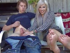 Jerky Girls handjob interview with showing feet