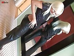 Eroberlin Lola takes off her hot leather and masturbates in bed
