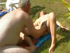 Hairy french mature fisted outdoor