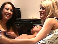 Two femdom cfnm hotties jerking dick off