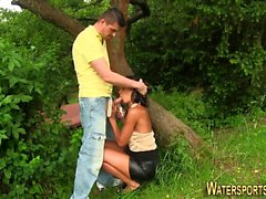 Ebony whore pee soaked