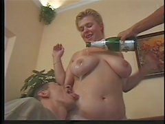 Chubby German fuck 2 men with champagne