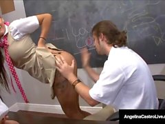 Cuban Teacher Angelina Castro Makes School Girls Jerk Cock!