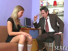 Sweet beauty gets a wild drilling from excited old teacher