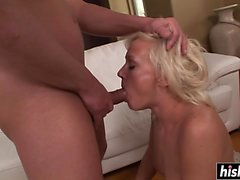Blonde swallows after being plowed hard