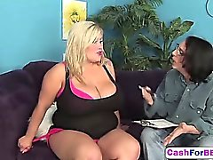 Blonde BBW Kacey likes sucking cock for cum