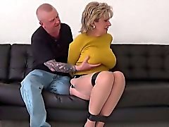Unfaithful british mature gill ellis shows off her huge boob