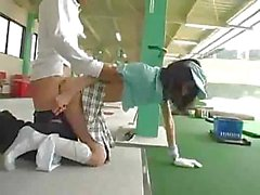 Japanese girl gets a golf lesson after sucking and fucking